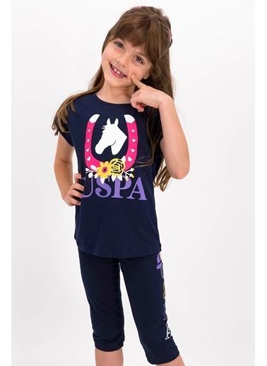 U.S. Polo Assn. U.S. Polo Lisanslı Mor Kız Çocuk Kapri Takım Lacivert